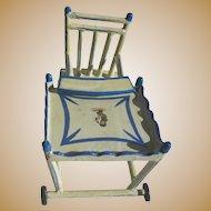 Antique German blue white wood small miniature doll folding high chair