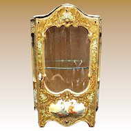 Antique Miniature French Enamel Brevete Vitrine display Cabinet