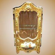 Antique Miniature French Enamel Brevete Vitrine display Cabinet