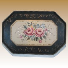 Black pink green blue decorative floral Antique metal Tole tray wall hanging