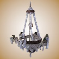 Large German doll house miniature beaded Antique Candle Chandelier Christmas ornament