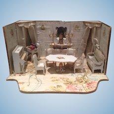 Antique French Gottschalk Miniature Dollhouse blue Parlor Furnishings Room box Mignonette