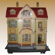 Antique German Gottschalk Red Roof large doll house c1912
