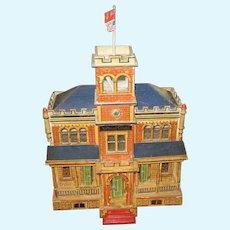 Antique Gottschalk Blue Roof National Guard doll house building c1904 Rare