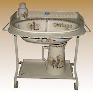 Child's antique French Sarreguemines Kate Greenaway Enfants Richard metal Roses washstand set