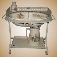 Child's antique French Sarreguemines Kate Greenaway Enfants Richard metal Roses washstand set