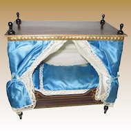 Antique German Boule Canopy French Blue Bed gilt decoration Dresden trim
