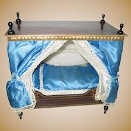 Antique German Boule Canopy French Blue Bed gilt decoration Dresden trim