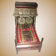 Antique Half-tester small doll wood Bed Brittany