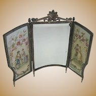 Antique miniature French doll romantic doll house screen with mirror