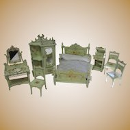 Antique Paul Leonhardt green gilt floral miniature furniture small doll size