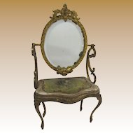 19th Century French Bronze gilt Miniature toilette table Hand-Painted Silk Scene