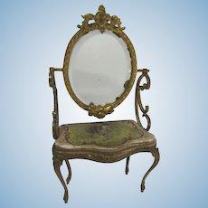 19th Century French Bronze gilt Miniature toilette table Hand-Painted Silk Scene
