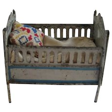 Antique doll house miniature tin cherub crib