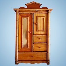 Antique doll French faux bamboo miniature mirrored wardrobe armoire