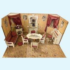 Antique French Gottschalk Miniature Doll House Parlor Room box Mignonette