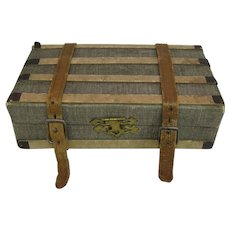 Antique German paper litho small doll trunk