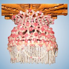 Rare large Doll antique beaded Chandelier clear & pink rose colored glass beads