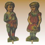 Antique paper litho pair large children boy girl