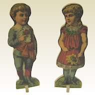 Antique paper litho pair large children boy girl