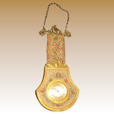Antique Austrian tapestry ormolu miniature decorative clock