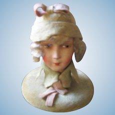 German Antique lady head hat stand Papier-Mâché head
