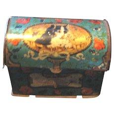 Antique miniature dome trunk litho cat kitten tin