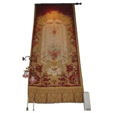 Antique pair Aubusson style French tapestry drapes Napoleon IV