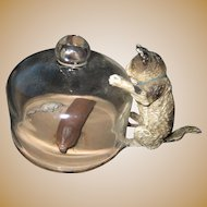 Antique Vienna Bronze miniature Cat Kitten glass dome