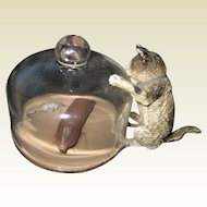 Antique Vienna Bronze miniature cat kitten with glass dome