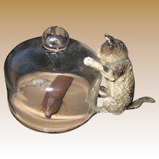 Antique Vienna Bronze miniature cat kitten with glass dome