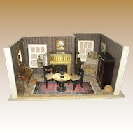 Antique miniature German Gottschalk doll house small room box with furnishings