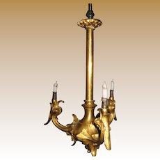 Large miniature gold figural antique candelabra chandelier