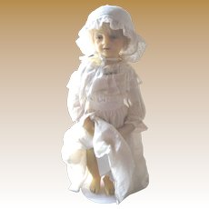 "Beautiful antique Peck wax doll 18"""