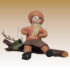 German Antique Christmas Heubach child cotton bisque figure ornament