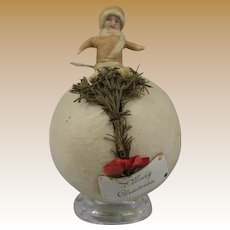 German Antique Christmas Heubach figure large cotton ball candy container ornament