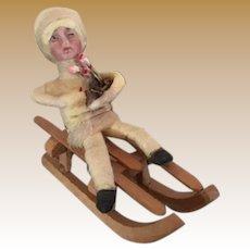 German Antique Christmas Heubach child cotton bisque sledder ornament Choice