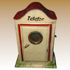Antique German doll train tin Telefon booth