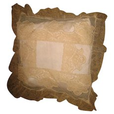 Decorative beige lace antique small pillow