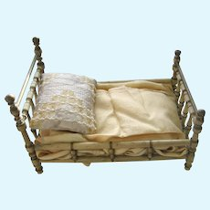 Antique German Christian Hacker white Wood turned Doll Bed