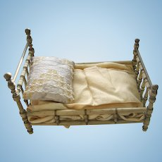 Antique German Christian Hacker white Wood Doll Bed