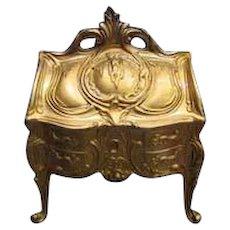 Antique French Art Nouveau Cast Metal Trinket Box Doll Vignette
