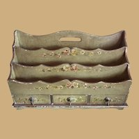Antique French floral toile painted wood Secretary Desk  organizer