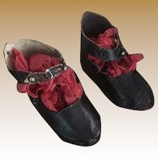 Antique doll black leather strap shoes