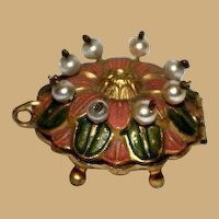 Small antique Pearl beaded Ormolu round box pink green accents unusual