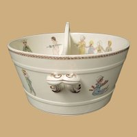 Sarreguemines French Faience Pottery Kate Greenaway Enfants Richard antique Divided Tub doll bath