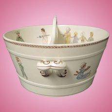 Sarreguemines French Faience Pottery Kate Greenaway Enfants Richard Divided Tub doll bath