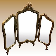 Antique doll French gilt decorative metal triple Dressing Mirror Cherub crown