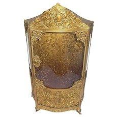 Antique A.B. PARIS gilt decorative filigree metal and bowed glass case vitrine