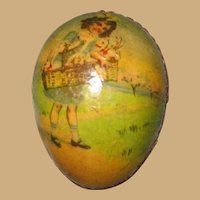 Antique German paper litho Children graphics Easter egg Christmas Ornament candy container